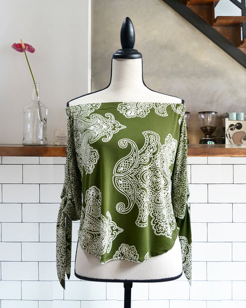 Vida Printed Green Top