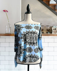 Vida Printed Blue Top
