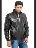 London Bee Men's Brown Solid Leather Jacket