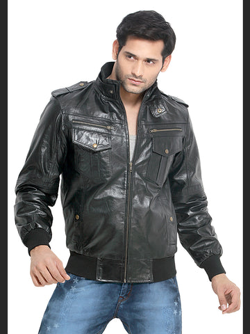 London Bee Men's Black Solid Leather Jacket