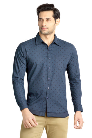 London Bee Men's Navy Blue Cotton Circle Print Long Sleeve Slim Shirt MLSLB0079