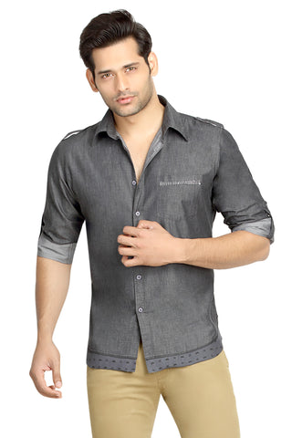 London Bee Men's Grey Solid, Cotton, Long Sleeve Slim Fit Shirt MLSLB0080