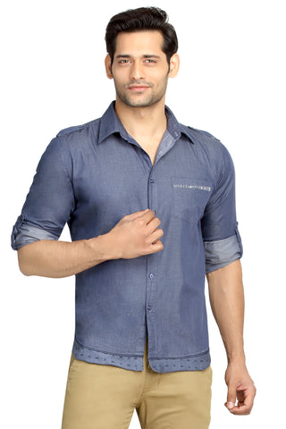 London Bee Men's Blue Solid, Cotton, Long Sleeve Slim Fit Shirt MLSLB0081
