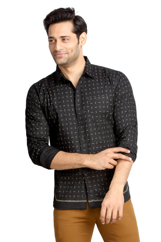 London Bee Men's Black Cotton Pin Print Long Sleeve Slim Fit Shirt MLSLB0084