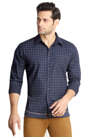 London Bee Men's Navy Blue Cotton Pin Print Long Sleeve Slim Fit Shirt MLSLB0086