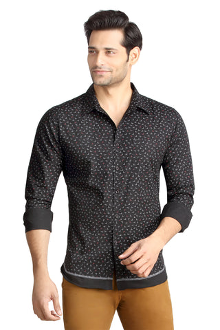 London Bee Men's Black Cotton L Print Long Sleeve Slim Fit Shirt MLSLB0087