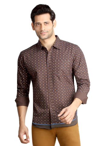 London Bee Men's Brown Cotton Leaf Print Long Sleeve Slim Fit Shirt MLSLB0088
