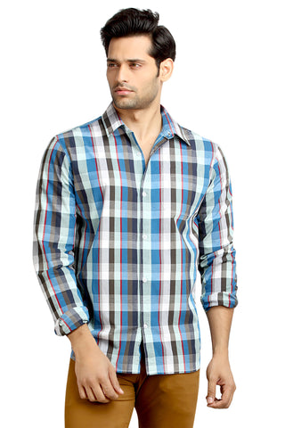 London Bee Men's Blue Cotton Checks Long Sleeve Slim Fit Shirt MLSLB0078