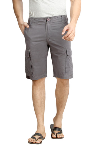 Grey Solid Cotton Cargo Shorts MSLB0042