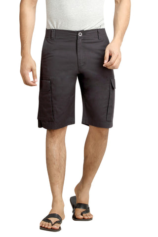 Black Solid Cotton Cargo Shorts MSLB0040