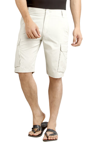 Off White Solid Cotton Cargo Shorts MSLB0039