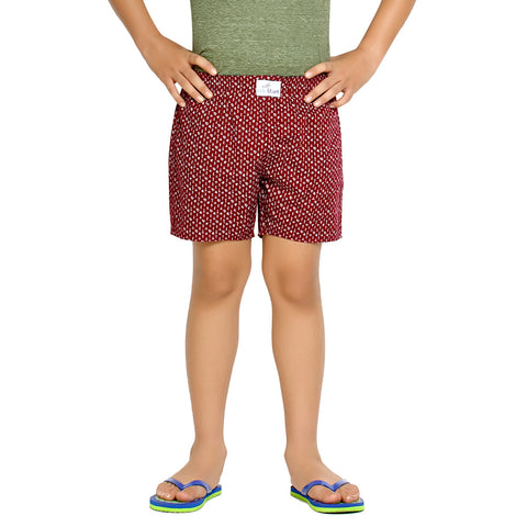 Kick Start Boy's Burgandy Cotton Dimond Print Boxer