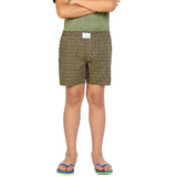 Kick Start Boy's Olive Cotton Dimond Print Boxer