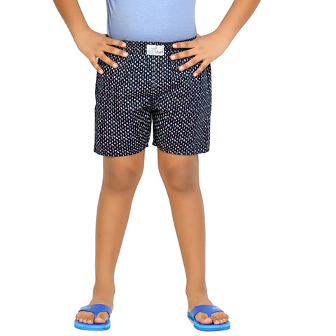 Kick Start Boy's Navy Blue Cotton Dimond Print Boxer