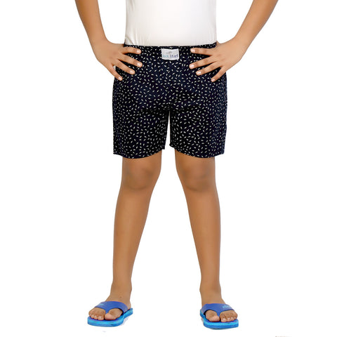 Kick Start Boy's Navy Blue Cotton Leaf Print Boxer