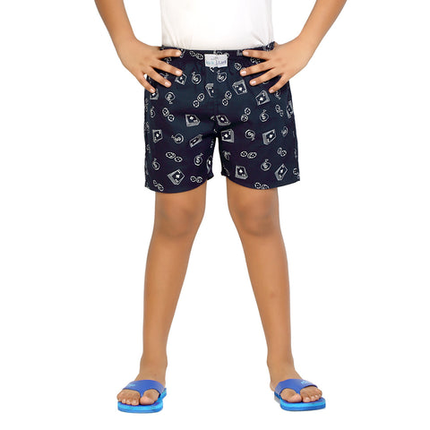 Kick Start Boy's Navy Blue Cotton Dollar Print Boxer