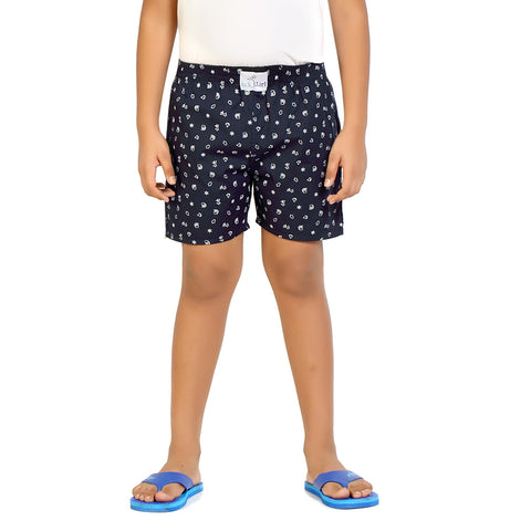 Kick Start Boy's Navy Blue Cotton star Print Boxer