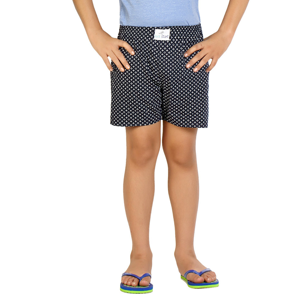 Kick Start Boy's Navy Blue Cotton Flower Print Boxer
