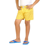 Kick Start Boy's Yellow Cotton Smily Print Boxer
