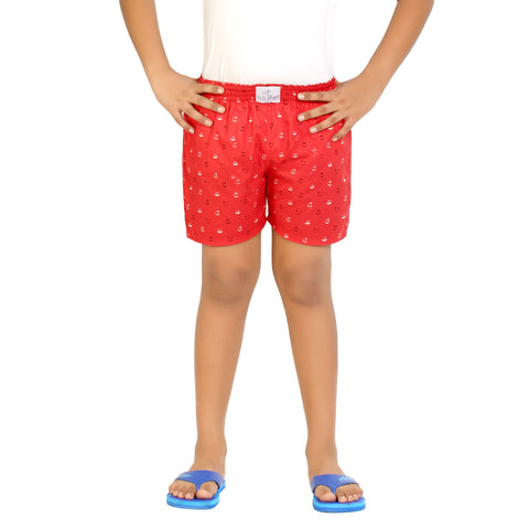 Kick Start Boy's Red Cotton Smily Print Boxer
