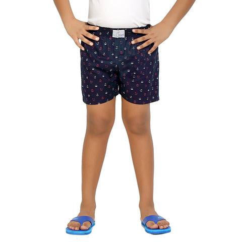 Kick Start Boy's Navy Blue Cotton Smily Print Boxer