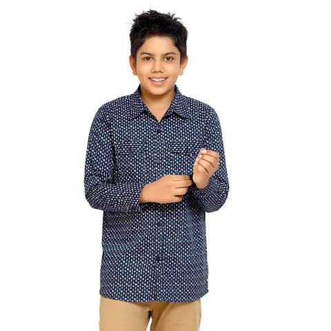 Kick Start Boy's Navy Blue Cotton Diamond Print Long Sleeve Regular Fit Shirt