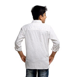 Kick Start Boy's White Cotton Arrow Print Long Sleeve Regular Fit Shirt