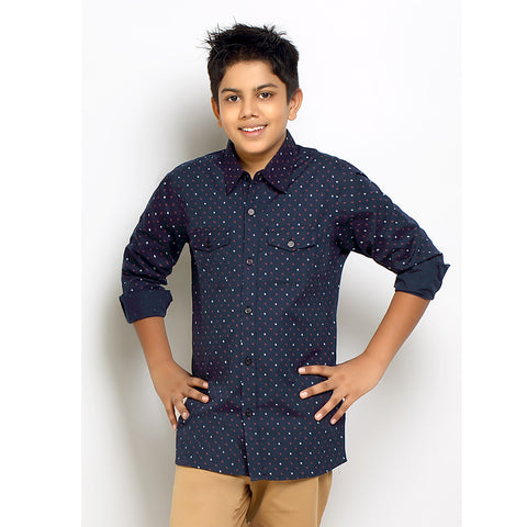 Kick Start Boy's Navy Blue Cotton Arrow Print Long Sleeve Regular Fit Shirt