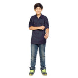 Kick Start Boy's Navy Blue Cotton Multi Print Long Sleeve Regular Fit Shirt