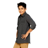 Kick Start Boy's Black Cotton Stripe Print Long Sleeve Regular Fit Shirt