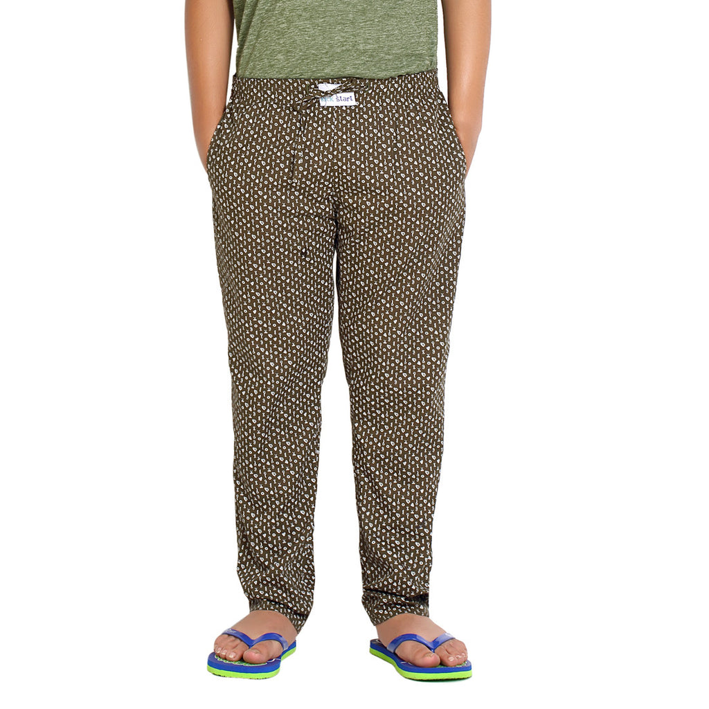 Kick Start Boy's Olive Cotton Diamond Print Pyjama
