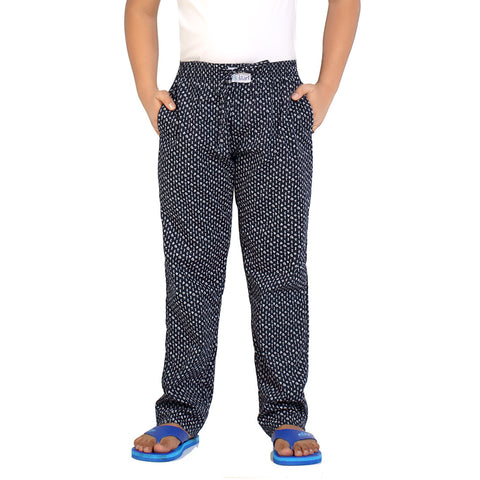 Kick Start Boy's Navy Blue Cotton Diamond Print Pyjama