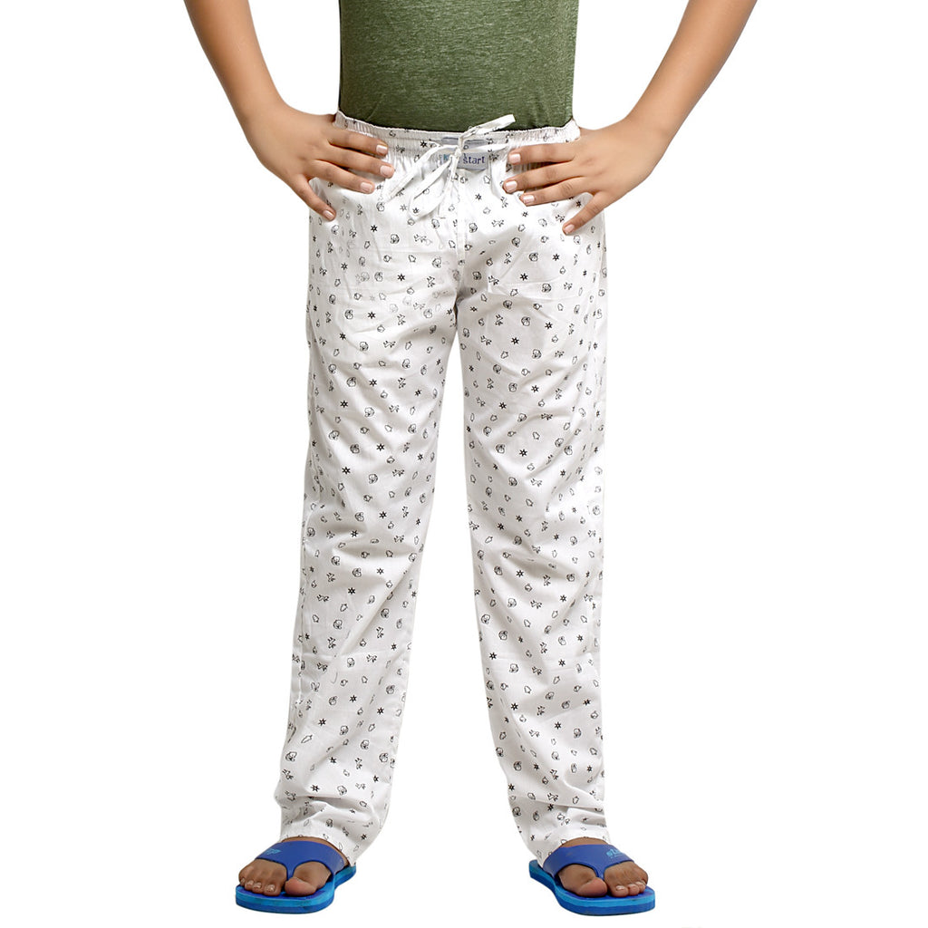 Kick Start Boy's White Cotton Star Print Pyjama