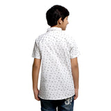 Kick Start Boy's White Cotton Star Print Short Sleeve Regular Fit Shirt
