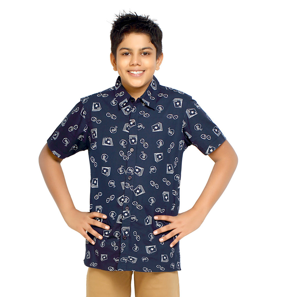 Kick Start Boy's Navy Blue Cotton Dollar Print Short Sleeve Regular Fit Shirt