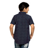 Kick Start Boy's Navy Blue Cotton Leaf Print Short Sleeve Regular Fit Shirt