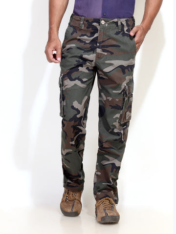 London Bee Army Print Cotton Cargo Pants MFPLB0002