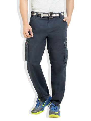 London Bee Navy Solid Cargo Pants MFPLB0010