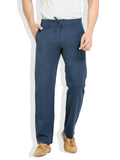 London Bee Men's Navy Blue Cotton Linen Solid Pyjama