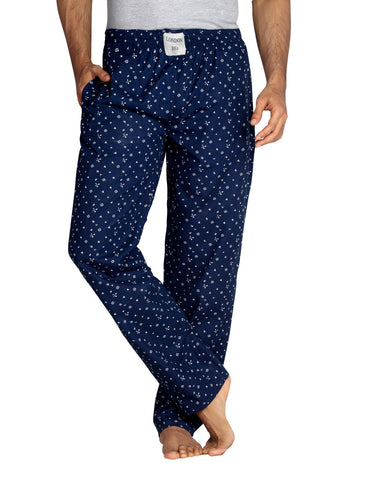 London Bee Men's Navy Blue Cotton Printed Pyjama  MPLB0005