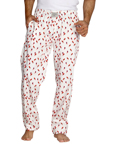 London Bee Men's White Cotton Printed Pyjama MPLB0003