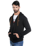 London Bee Men's Black Solid Cotton Fleece Hoodie