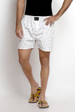 White Cotton Printed Boxers