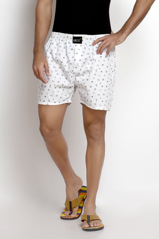 White Cotton Printed Boxers MLB0104
