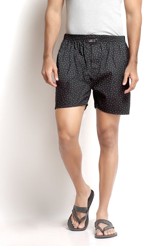 Black Cotton Printed Boxers MLB0106