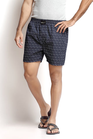 Navy Blue Cotton Printed Boxers MLB0108