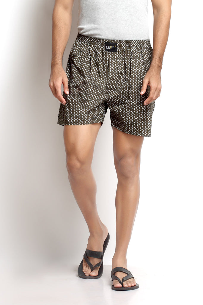 Olive Cotton Printed Boxers