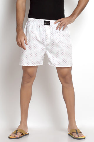 White Cotton Printed Boxers MLB0111