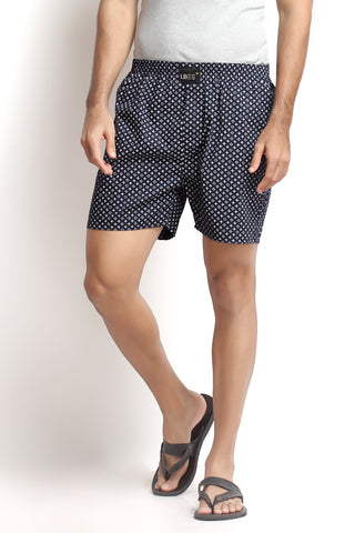 Navy Blue Cotton Printed Boxers MLB0113