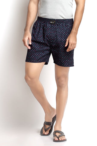Navy Blue Cotton Printed Boxers MLB0116